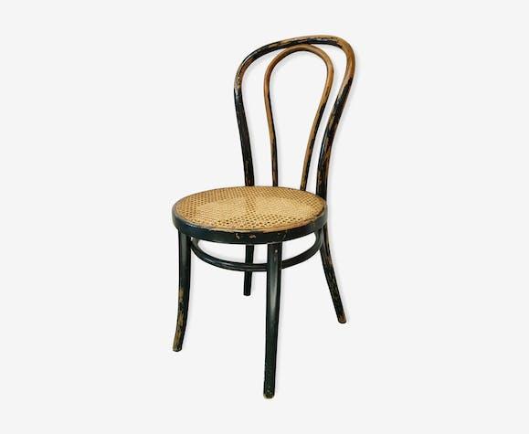 Chaise de bistrot cannée noire patinée
