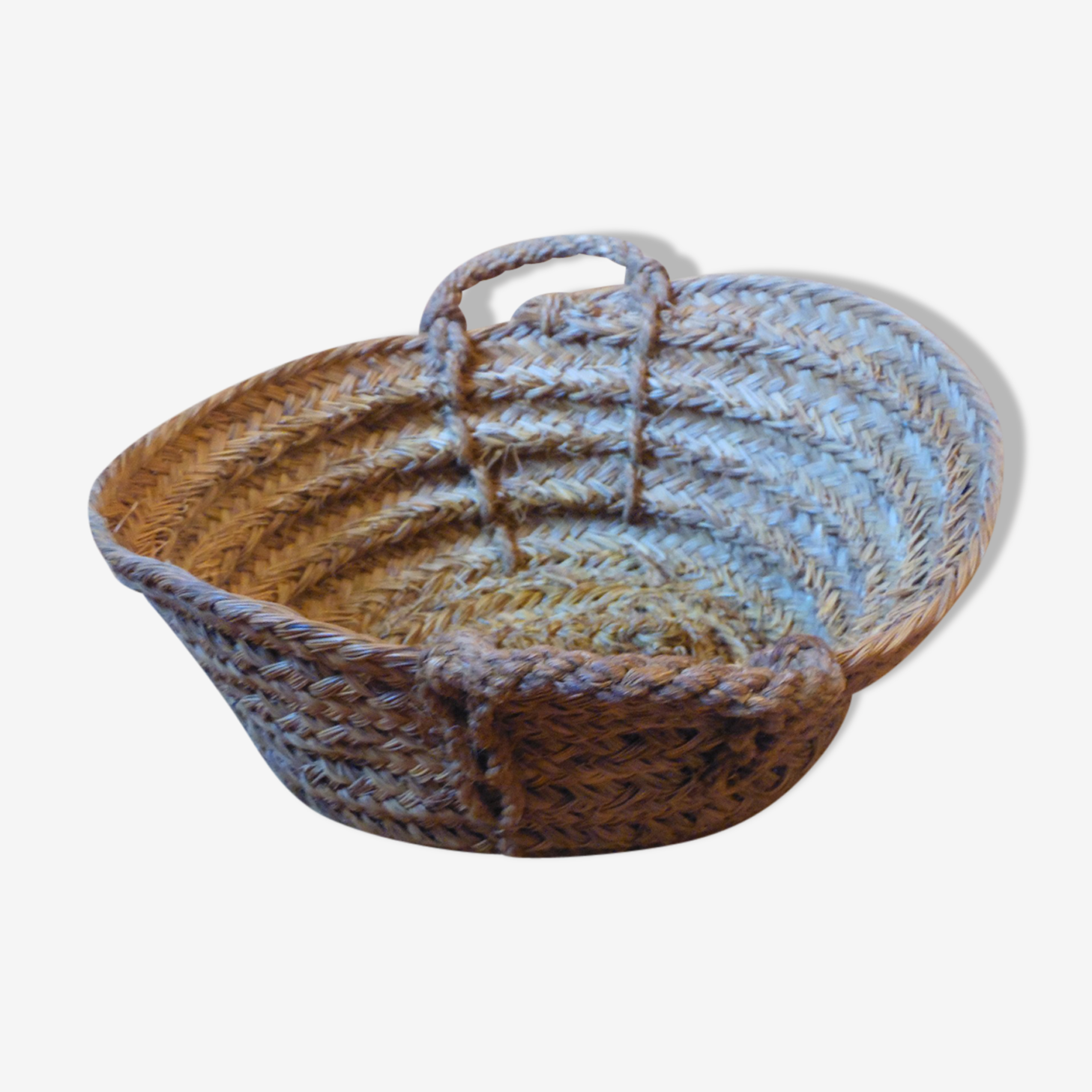 Ancien panier tissage main fibre naturelle