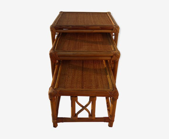 Tables pull-out vintage rattan