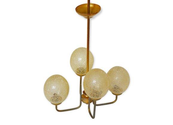 Lustre suspension boules verre ambré bullé vintage années 50 ...