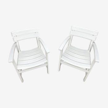 Ensemble de 2 fauteuils bas en bois exotique