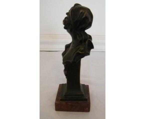 Bust profile woman bronze on marble entitled Sapho signed Jarois 1900