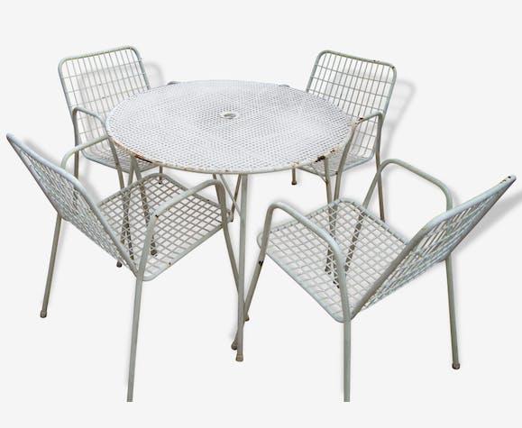 Salon de jardin 4 fauteuils EMU modèle RIO - fer - blanc - vintage ...
