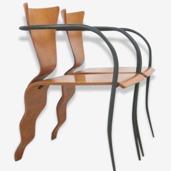Pair of chairs William K. Sawaya Tripod (1948) model 'Bella' 1991