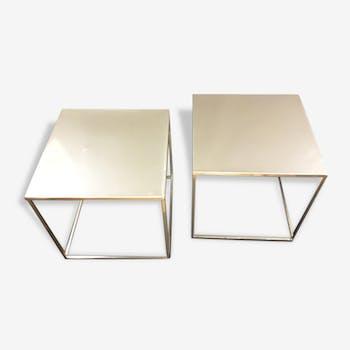 Paire de tables basses en métal circa 1970