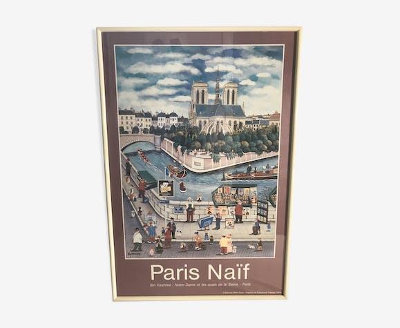 Ancienne affiche Paris naïf de Bin kashiwa Notre Dame de Paris