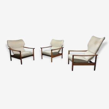 Lot de fauteuils wing chair Sven Ivar Dysthe model Rock Royal, Norvege