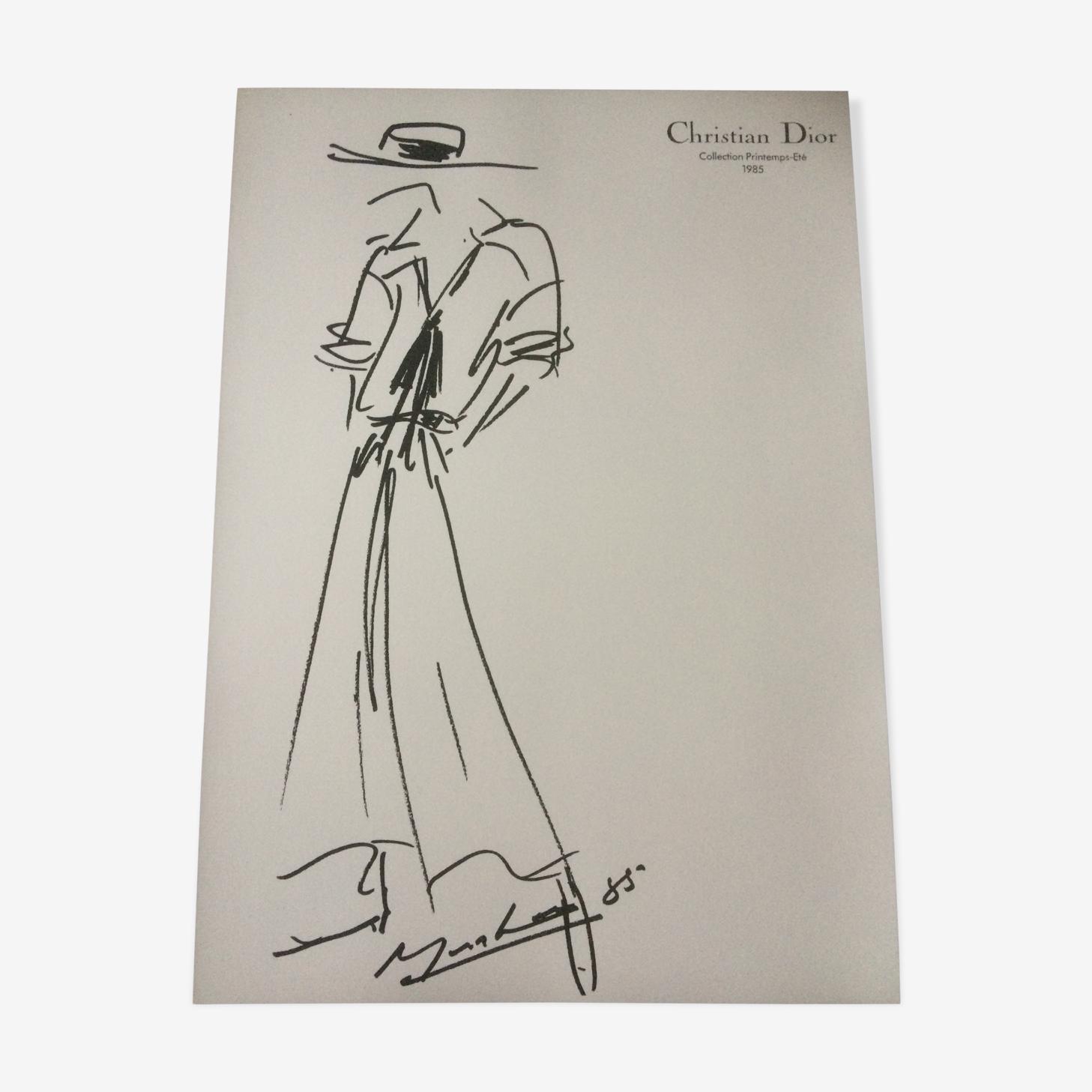 Croquis de mode et sa photographie de presse Christian Dior  des années 80