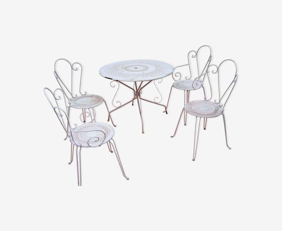 Salon de jardin en métal - fer - blanc - classique - RZOZR2E