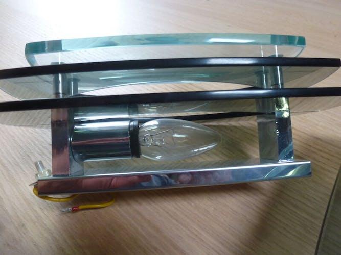 Paire d'appliques en verre fumé et métal chromé des années 70