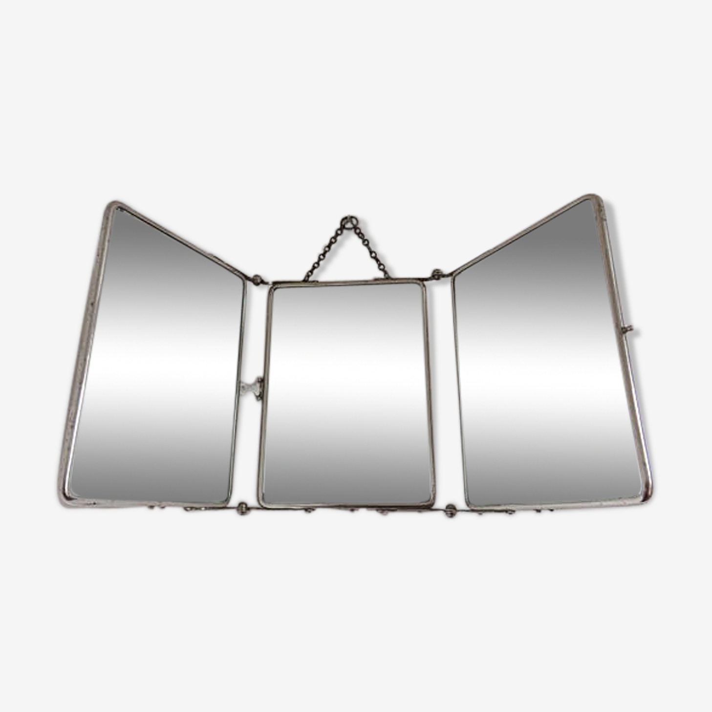 Barber beveled triptych mirror 40s 50s 21x50cm