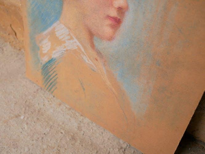 Portrait pastel sur carton vintage