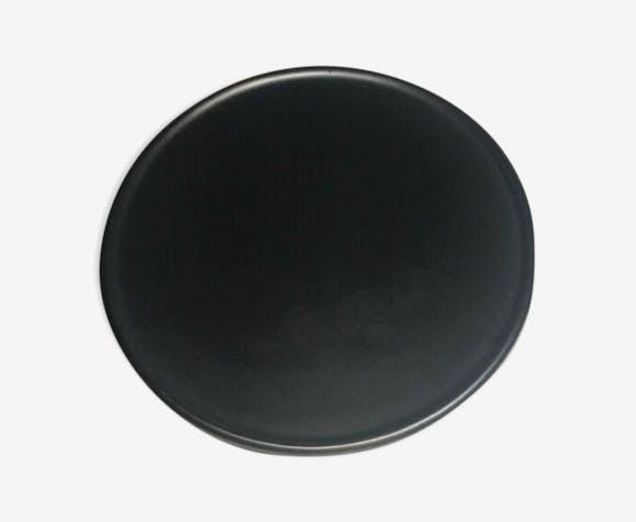 Assiette plate Ceramony Vallauris vintage noir lustré