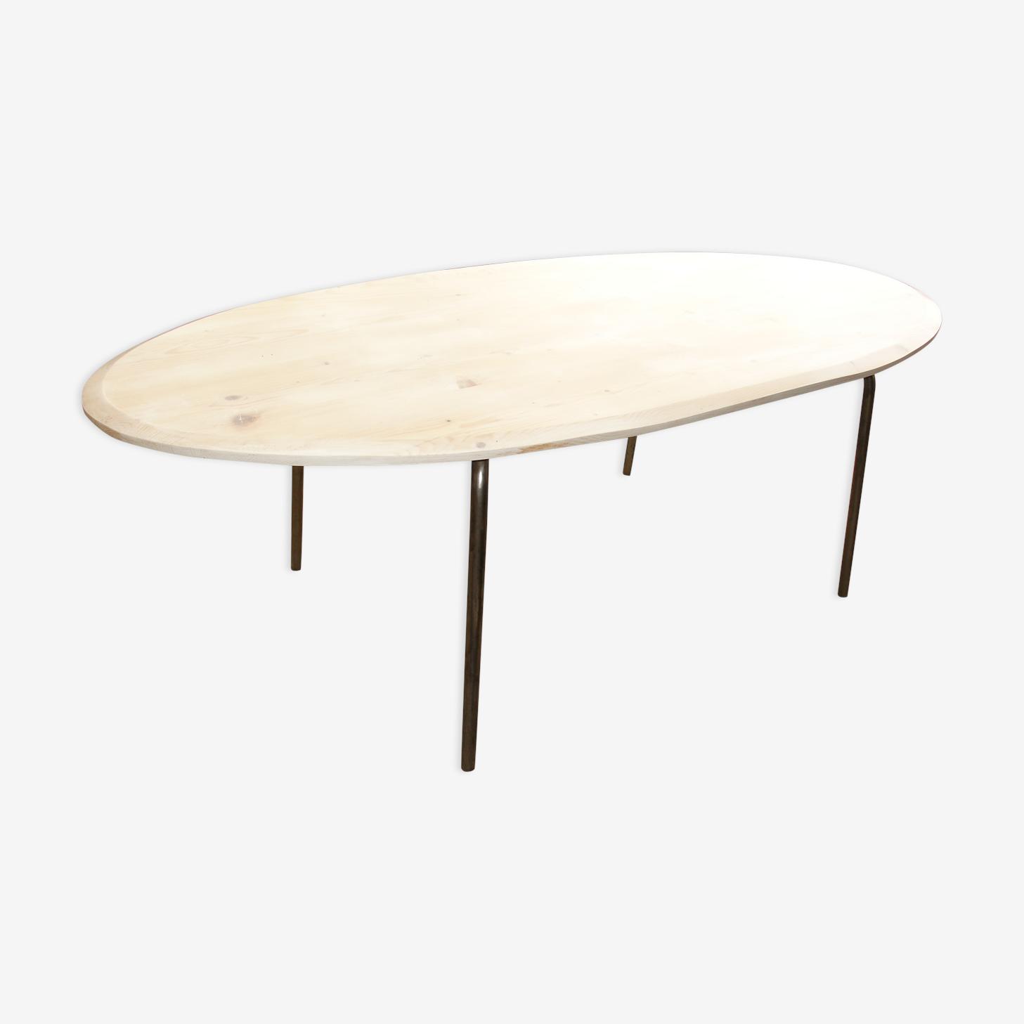 Table de salle à manger en bois et acier années 70