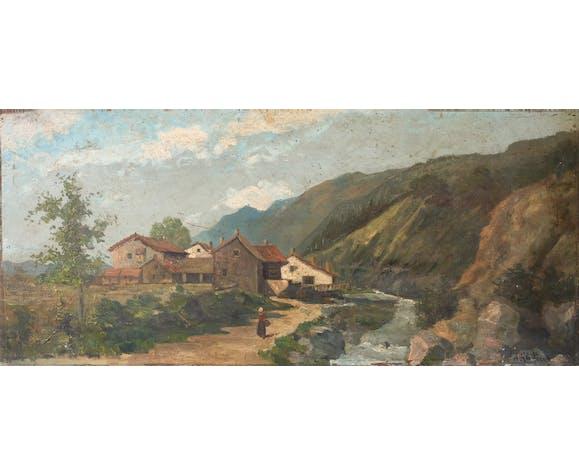 Peinture ancienne 19eme, peinture ancienne montagne