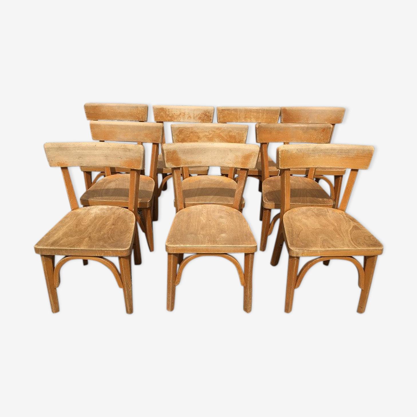 Suite de 10 chaises maternelle baumann