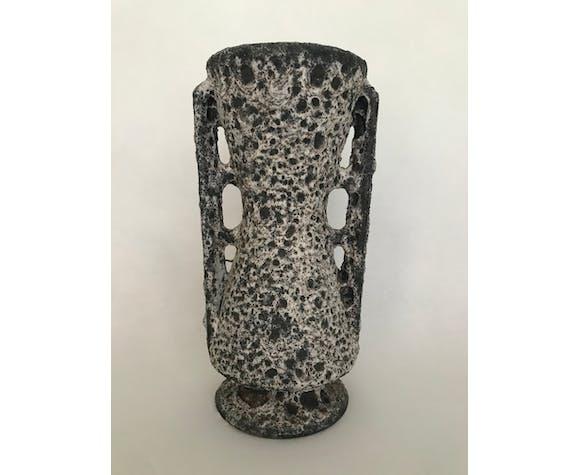 Vase diabolo à anses en céramique, Les Grottes Dieulefit, vers 1950-1960