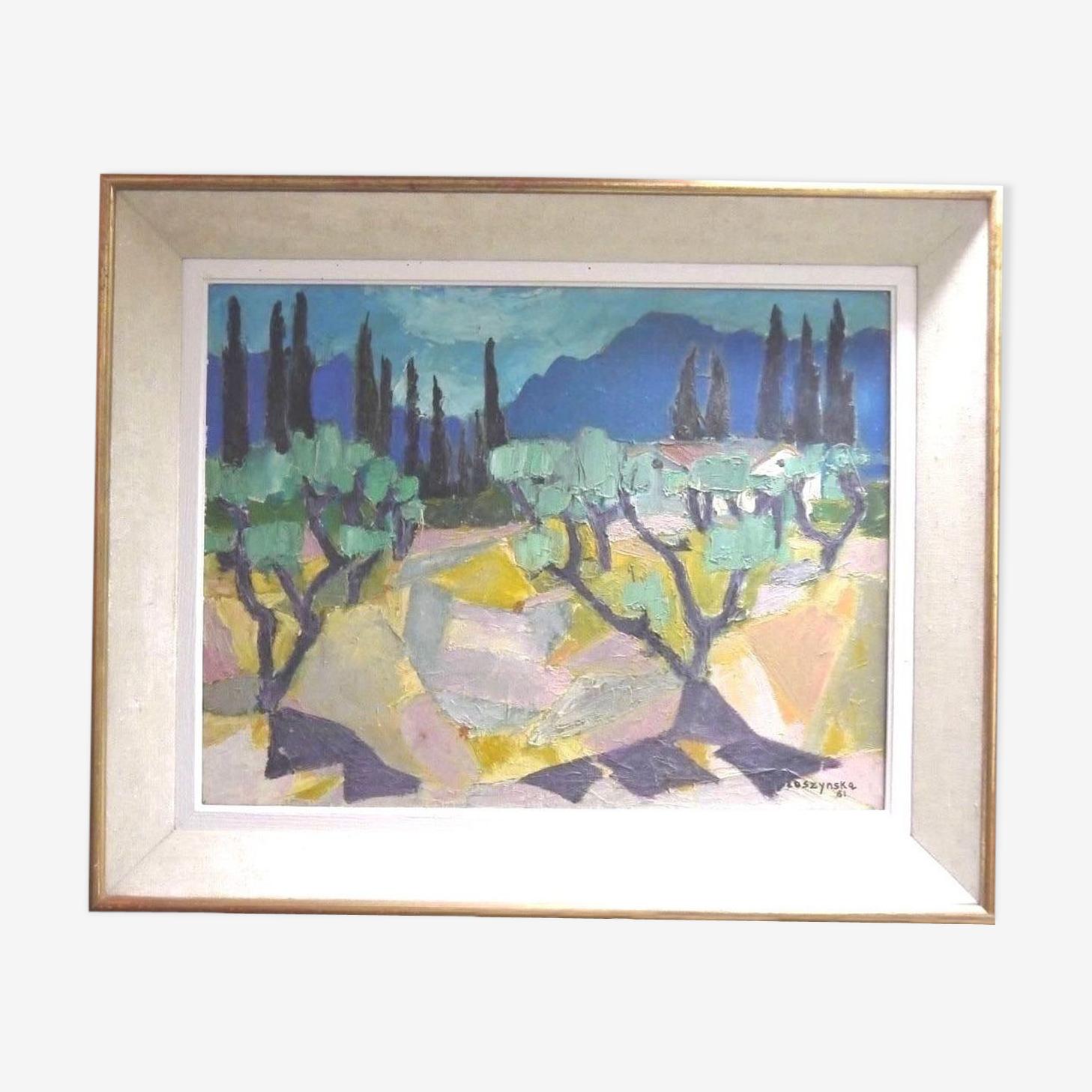 Huile sur toile par Annie Proszynska 1961 composition paysage abstrait