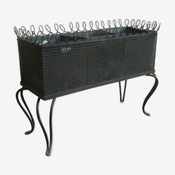 Jardinière en métal perforé noir des années 50