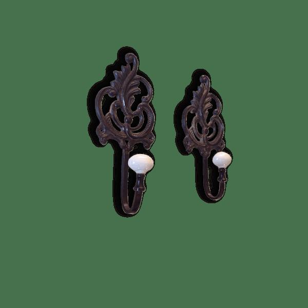 paire de pat res porte manteaux en fer forg et bouton. Black Bedroom Furniture Sets. Home Design Ideas