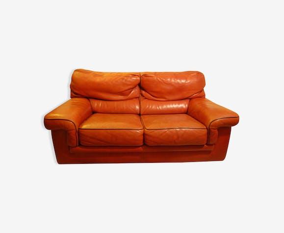 Canape En Cuir Patine Cuir Marron Industriel Yp2ozma