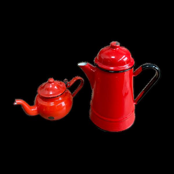 Ensemble cafetière et théière en métal émaillé rouge vintage