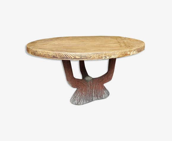 Table fake wooden garden, 60 years - stone and plaster - brown ...