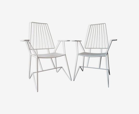 Suite de 2 chaises de jardin vintage blanches - 1960 - fer - blanc ...