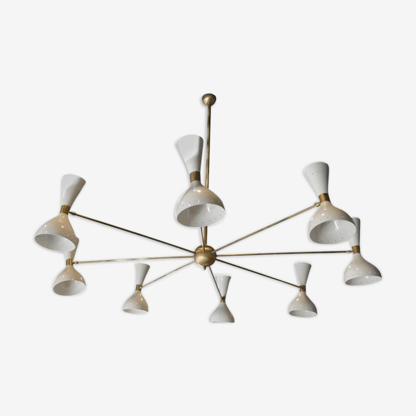 Chandelier made of brass and painted white metal
