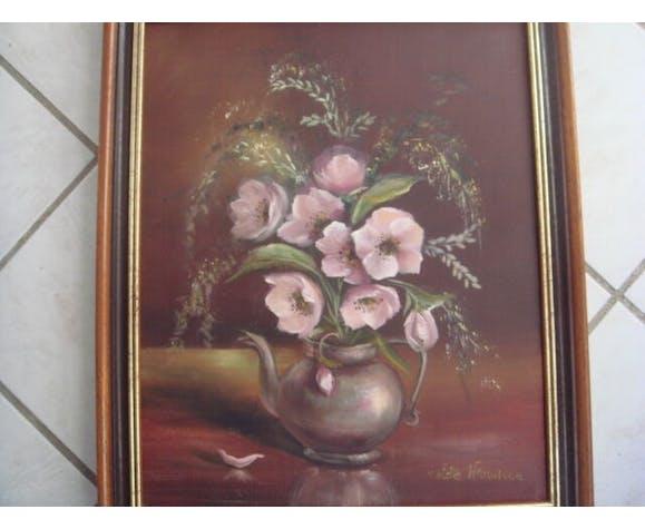 Tableau huile sur toile signé colette harnisch 39 x 47 cm