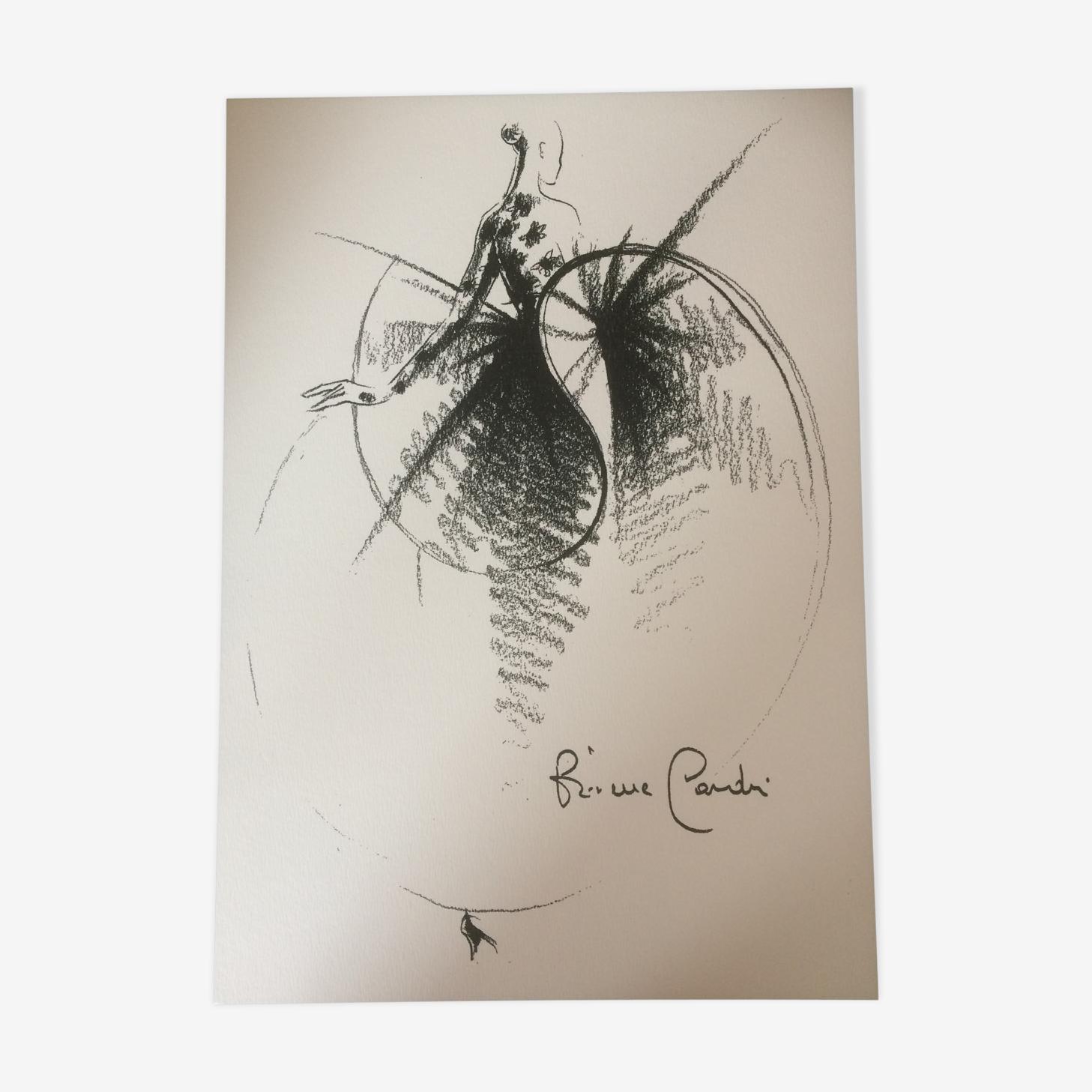 Illustration tirage dessin croquis vintage de mode presse Pierre Cardin fin des années 80.