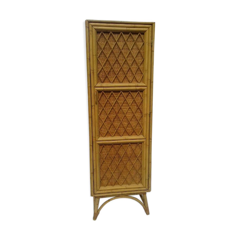 armoire en rotin clair - rotin et osier - bois (couleur) - vintage