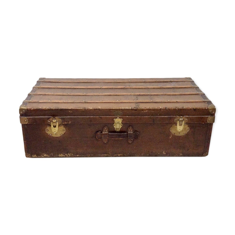 Malle Voyage Ancienne Bois produit bhv malle ancienne en cuir et bois fin xixème. | selency