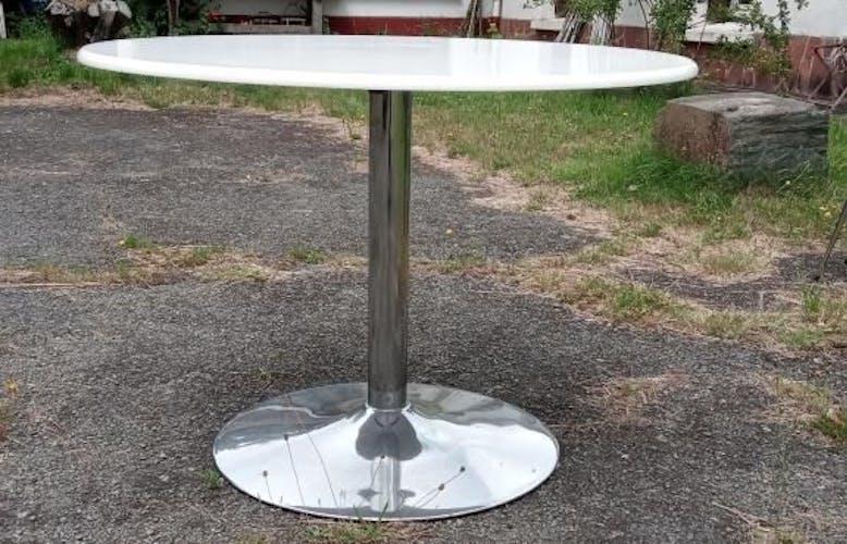 Table à manger ronde pied chromé plateau blanc