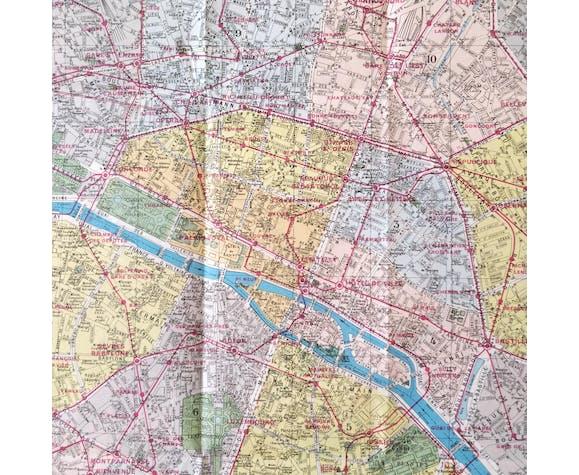 Carte ancienne Nouveau Paris monumental 75x55cm édition A. Leconte 1960
