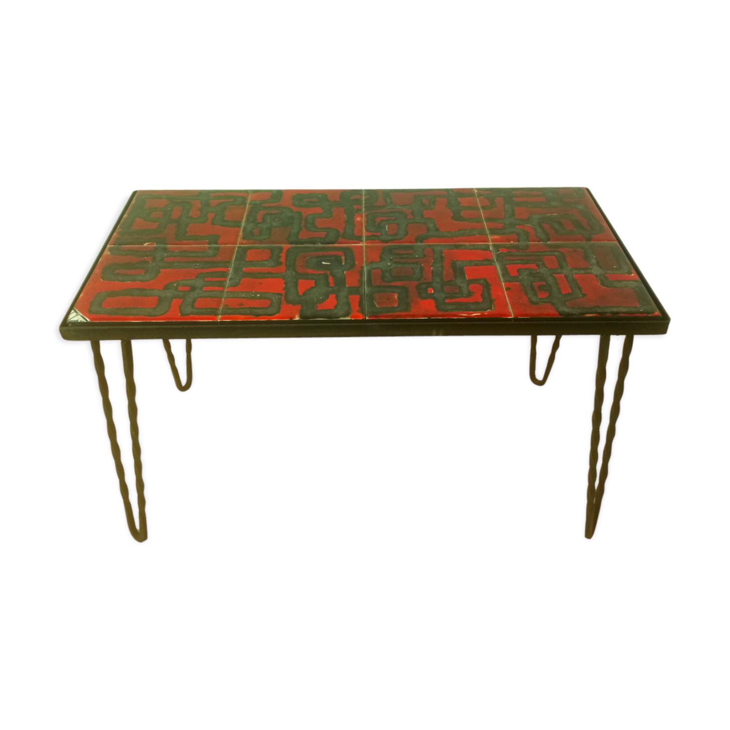 table basse pieds épingles fer forgé et céramique - céramique