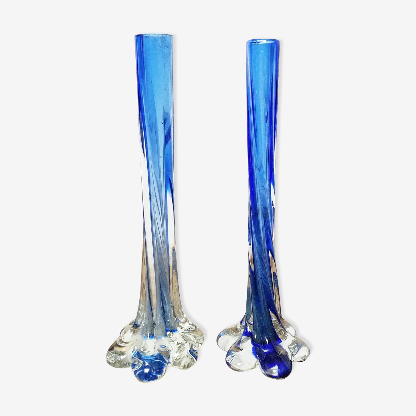 Blue soliflores vases