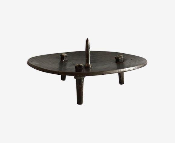 Bougeoir de table acier brutaliste vintage