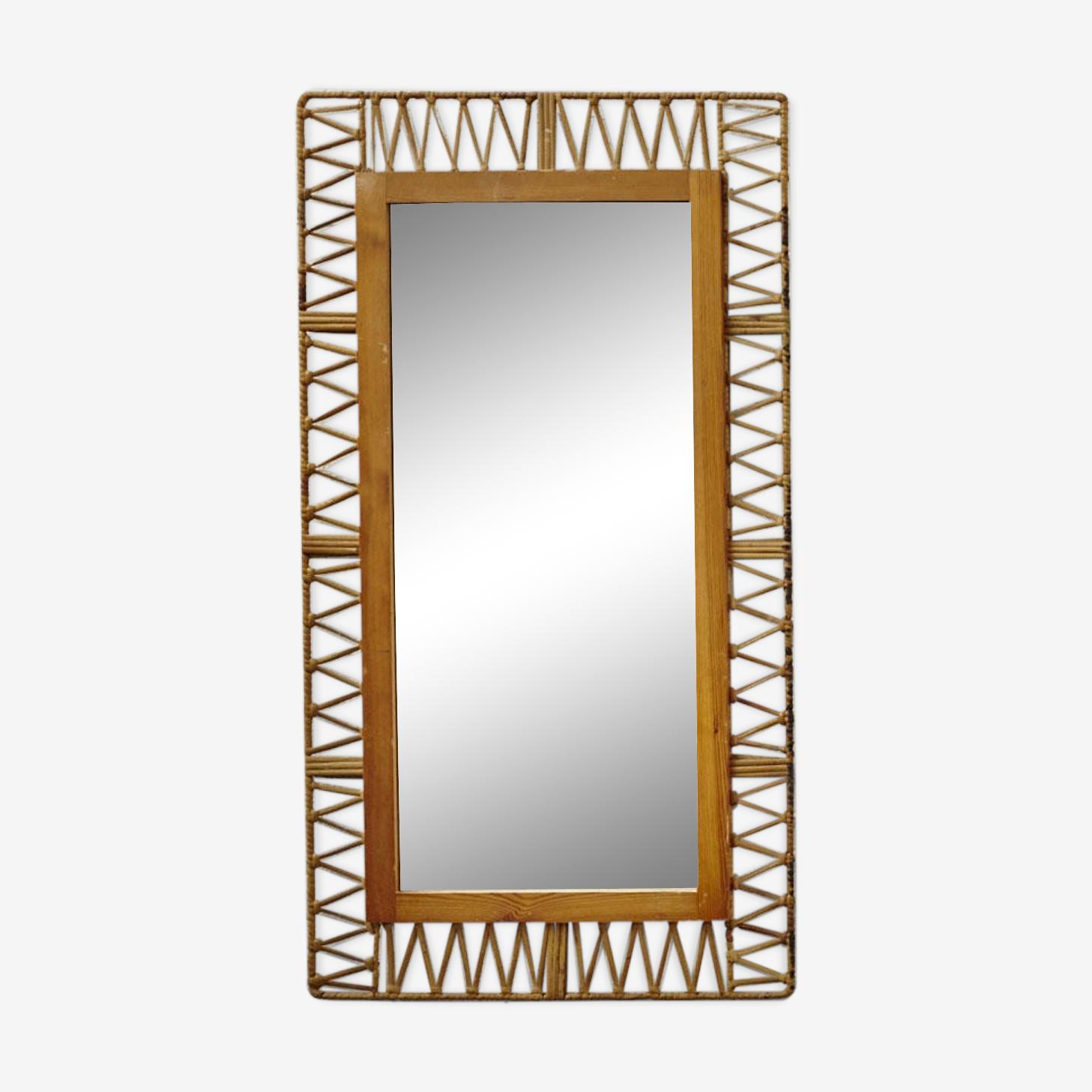 Miroir rectangulaire en rotin 47x88cm