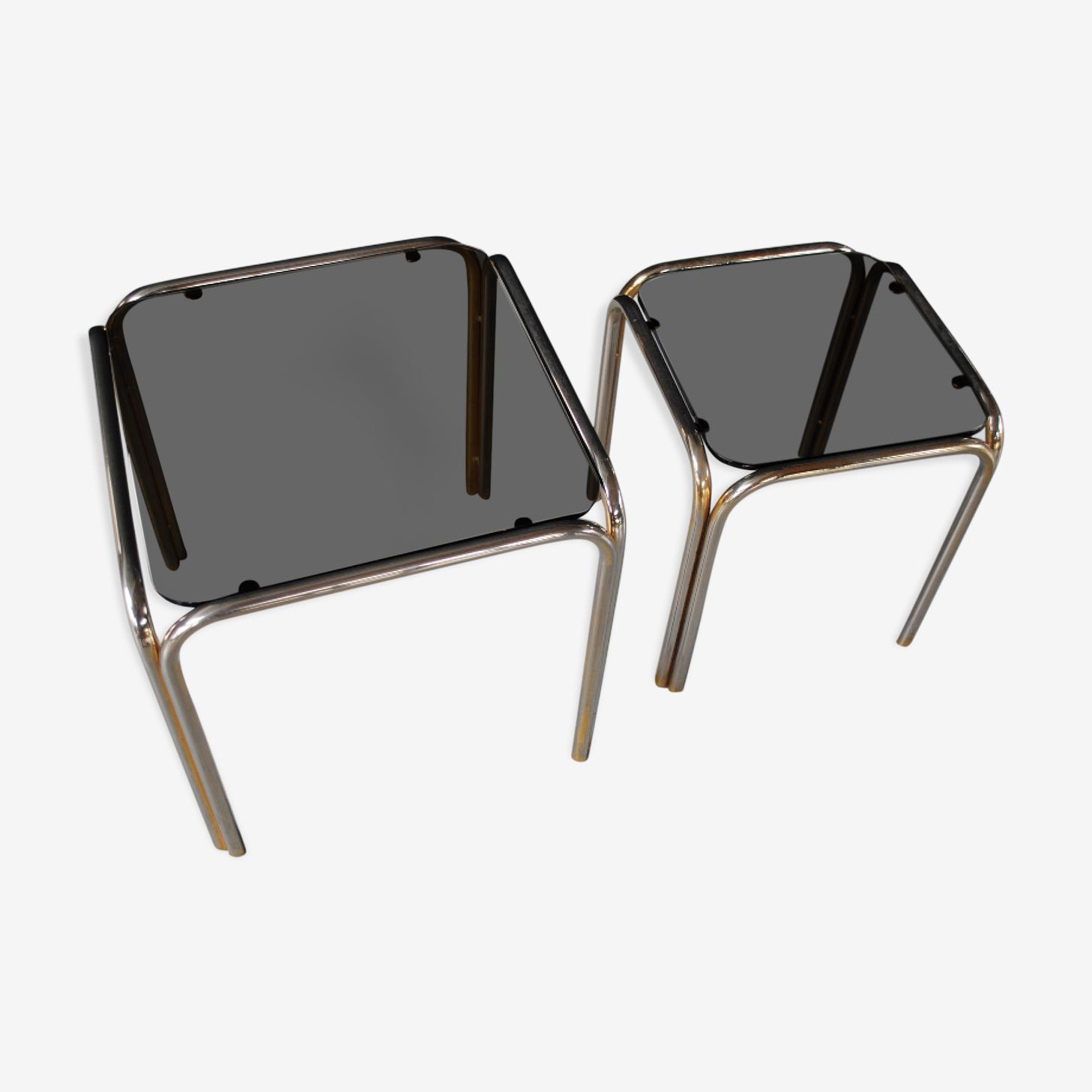 Tables gigognes métal et verre fumée vintage