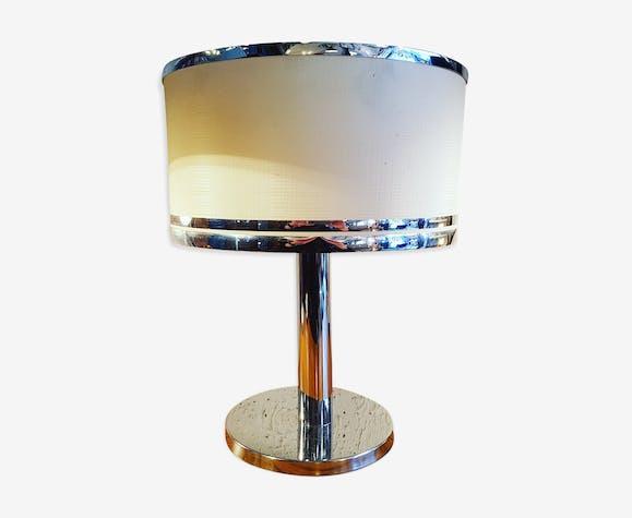 Lampe Pied Chrome Annees 70 Metal Argent Couleur Vintage