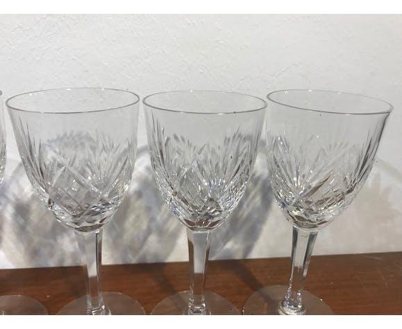 6 verres à vin blanc cristal de Lorraine taillé