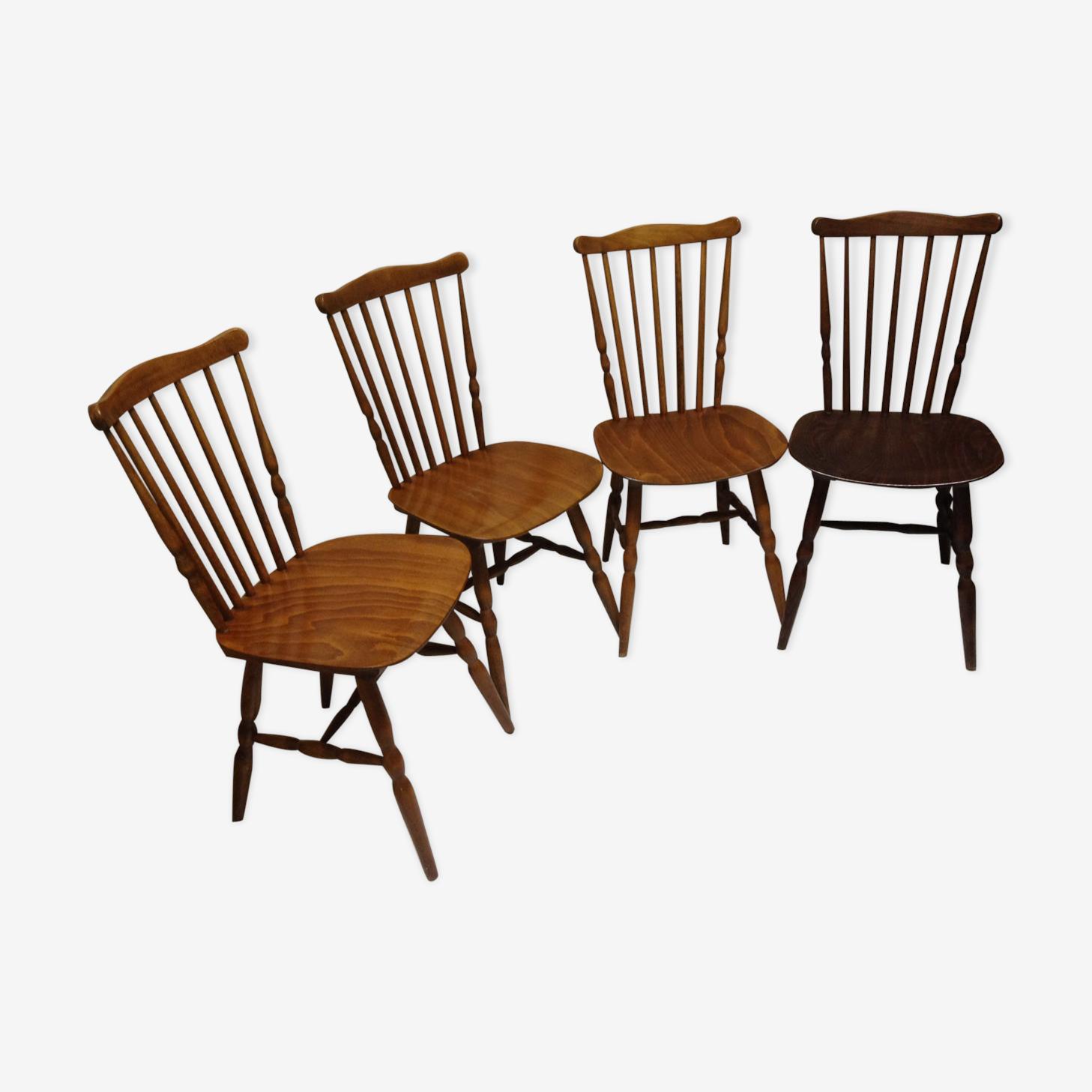 """Lot de 4 chaises Baumann """" Tacoma """" estampilées"""