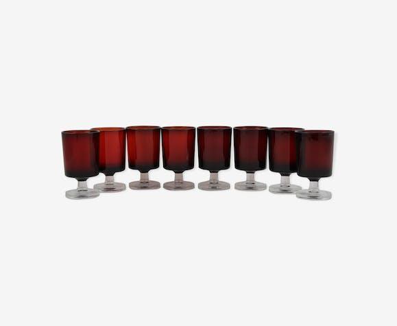 Lot de 8 verres à liqueur ou digestif rouge