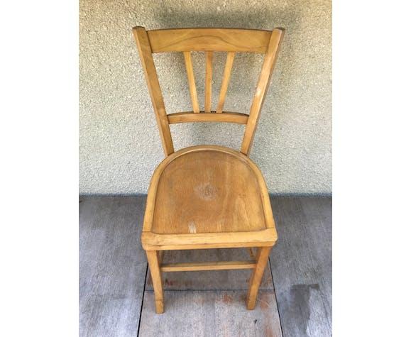 Chaise bistrot bois clair années 70 vintage