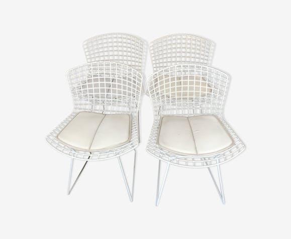 Série de 4 chaises Harry Bertoia édition Knoll signées 1990