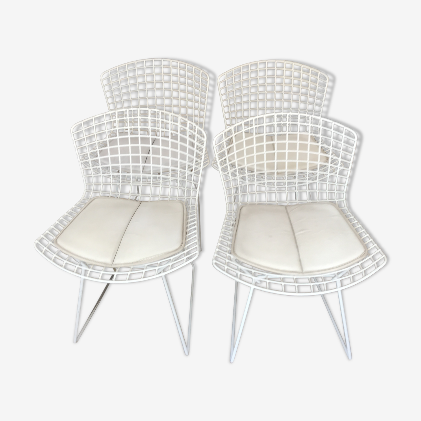 Set of 4 chairs Harry Bertoia edition Knoll signed 1990
