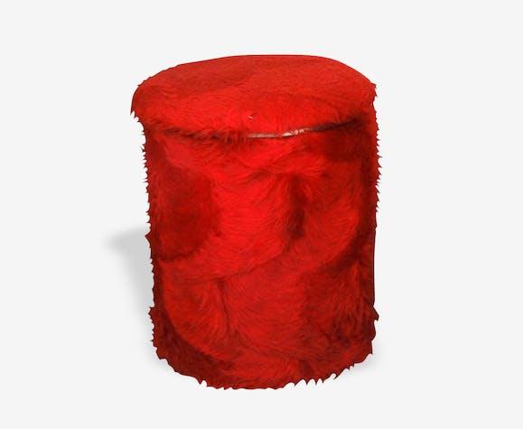 Pouf moumoute rouge