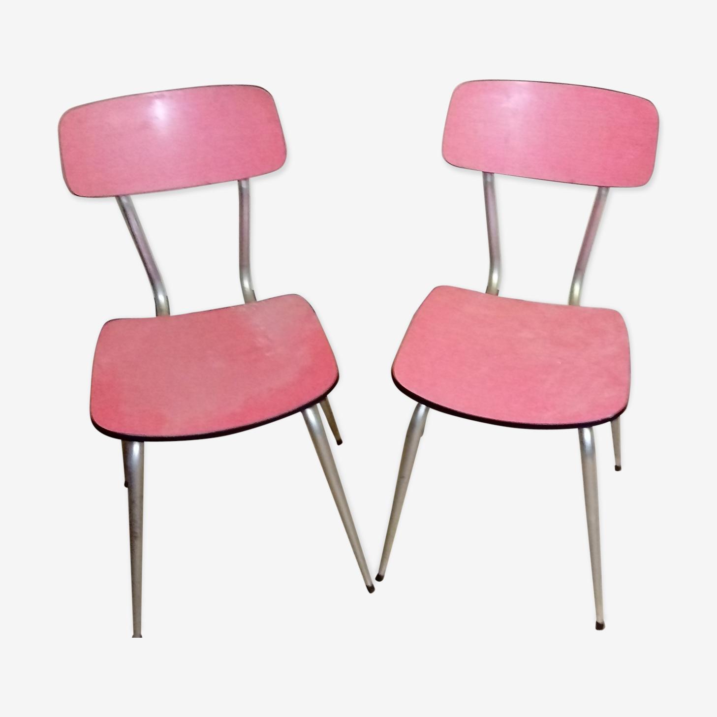 Ensemble de deux chaises en formica rouges