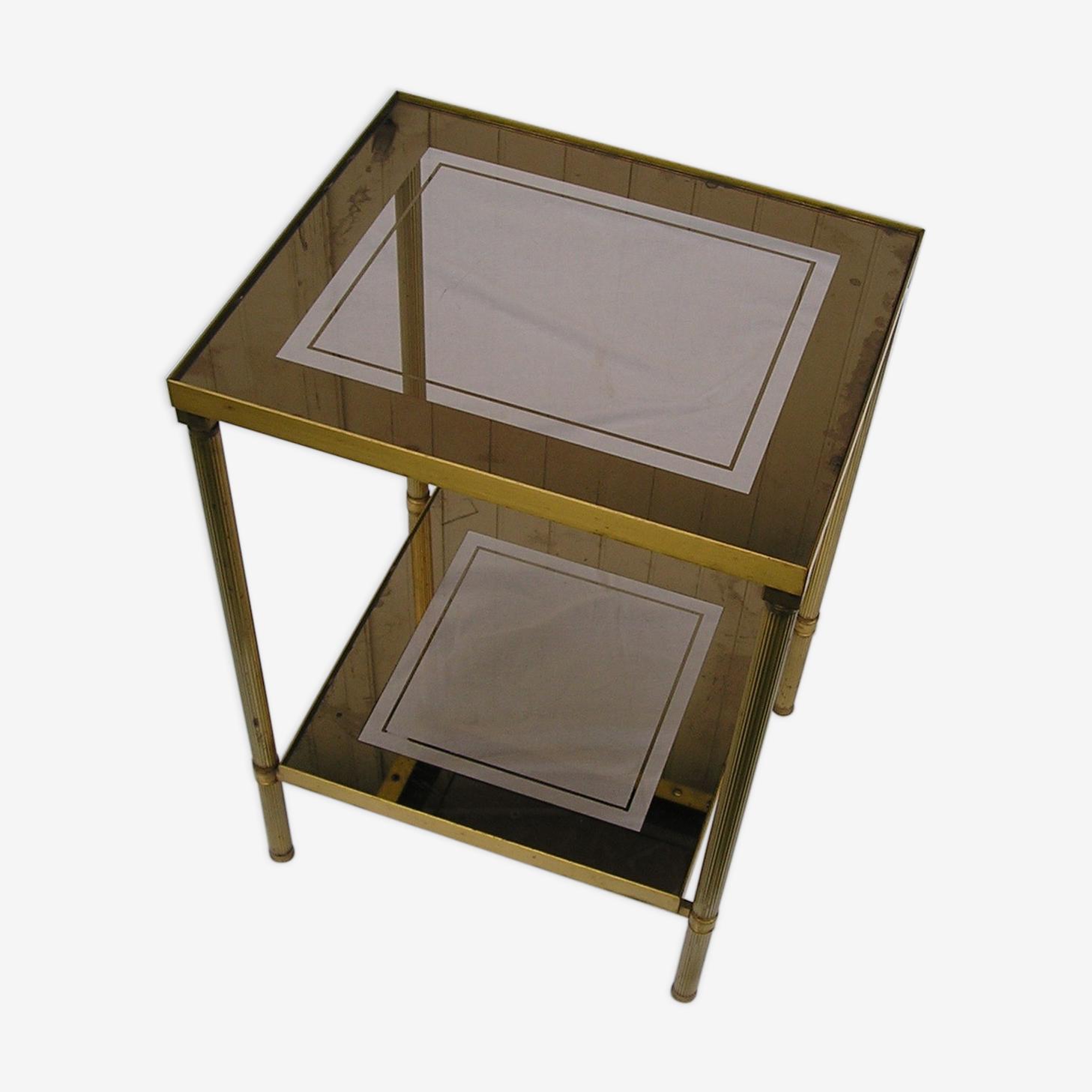 Table d'appoint, bout de canapé en bronze doré et double plateau en verre miroir 70's